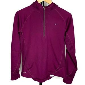Nike 1/4th Zip Maroon Pull Over Sweater Shirt Top